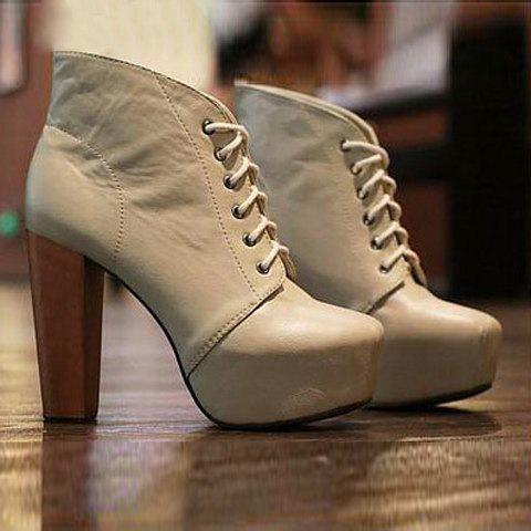 Hot Sale Fashion and Elegant Style Lacing Round Head Design High-Heeled Women's Platform Boots - APRICOT 36