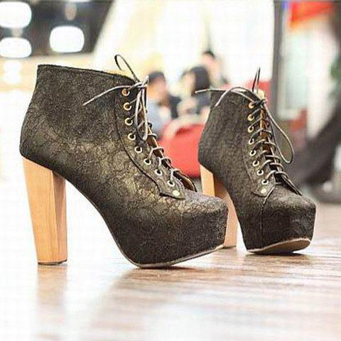 Fashion and Sexy Style Lace Embellished Lacing Design High-Heeled Women's Platform Boots - BLACK 35
