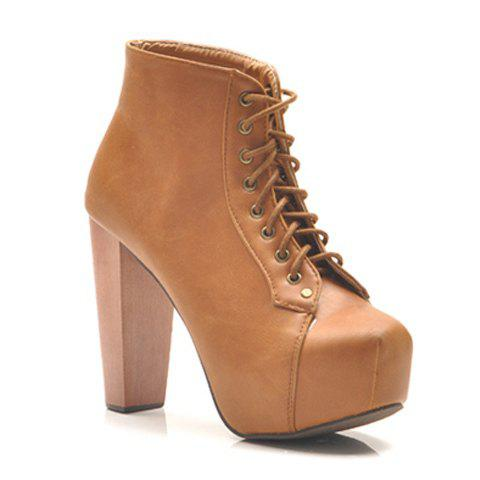 Hot Sale Fashion and Elegant Lacing High-Heeled Design Women's Platform Boots - YELLOW 37