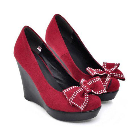 Fashion and Sweet Rhinestone Bowknot Embellished Round Head Design Women's Wedge Shoes - RED 37