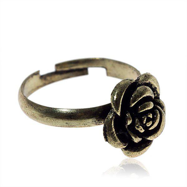 Fashionable Stylish Size Variable Gold-filled Rose Shaped Ring - Golden - GOLDEN