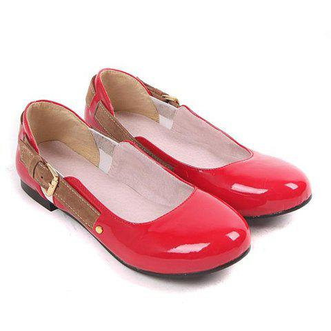 Fashion and Casual Buckle Embellished Round Head Design Women's Flat Shoes - RED 39