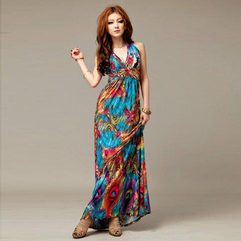 Alluring V-Neckline Peacock Print Sleeveless Maxi Dress For Women ...