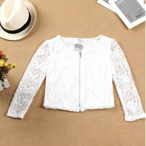 Retro Style Sweet Transparent Zipper Solid Color Long Sleeve Lace Short Coat For Women - WHITE