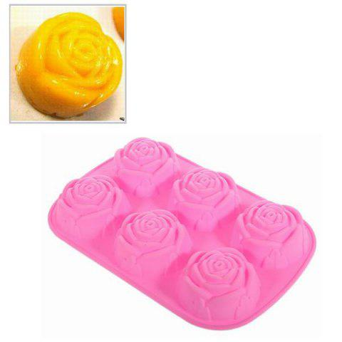 Silicone Cake Cookie Model Plate with 6 Delicate Rose Shapes - Pink - PINK