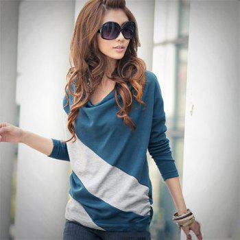 Exquisite Boat Neck Color Match Comfortable Long Sleeve T-Shirt For Women - BLUE FREE SIZE