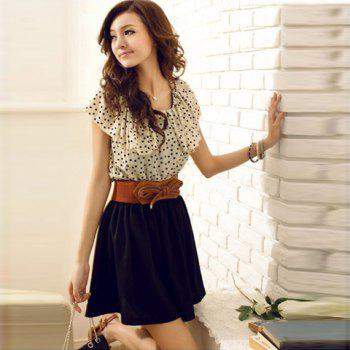 Korean Women Summer New Fashion Short-sleeve Dots Polka Waist Dress