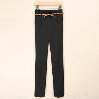 Stylish and Casual Style Solid Color Side Zipper Design Slimming Cotton Blended Trousers For Women - BLACK L