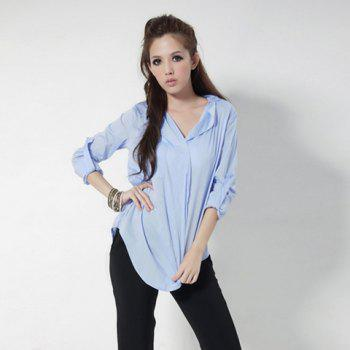 Laconic Style Notched Lapel Collar Turn-Up Sleeve Cotton Shirt For Women - BLUE S