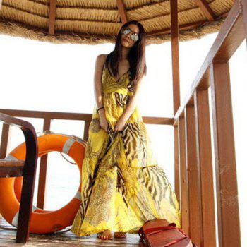 Leopard Spaghetti Strap Plunging Neck Backless Yellow Imitated Silk Maxi Dress