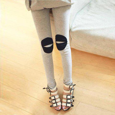 Casual Mix-Matched Elastic Waist Solid Color Cotton Leggings For Women - GRAY FREE SIZE