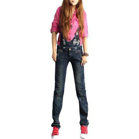 Cute Bow Tie Embellished Slimming Detachable Jean Overalls For Women - AS THE PICTURE 2XL