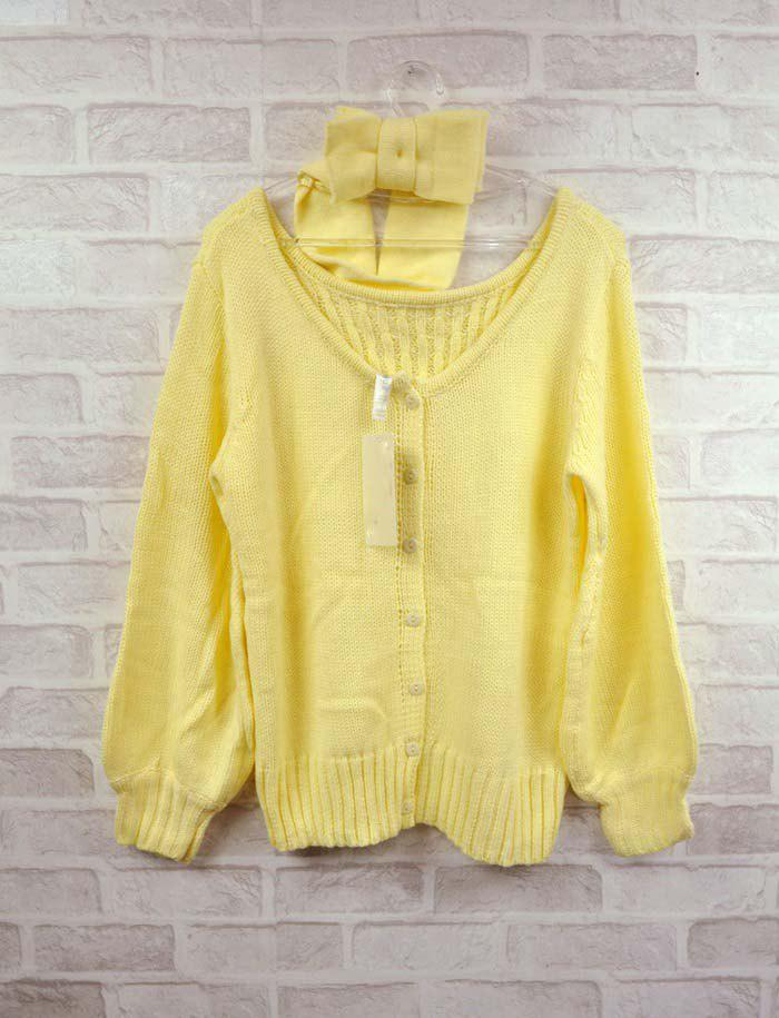 Ethnic Style Loose-Fitting Bow-Tie Embellished Wool Blend Sweater For Women - YELLOW FREE SIZE