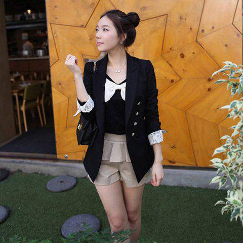 Office Lady Style Black Lace Embellished Sleeves and Turndown Collar Coat For Women - BLACK S