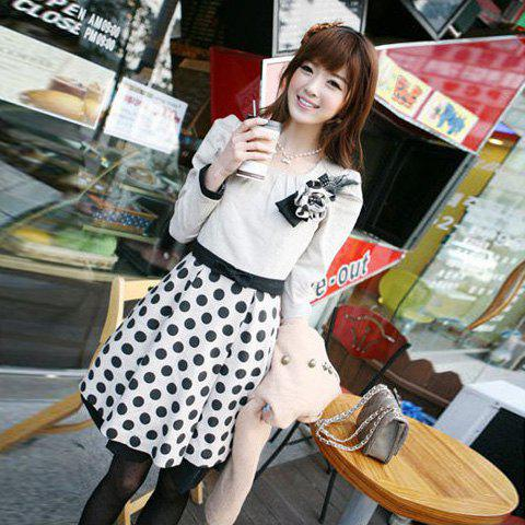 Hot Sale Sweet Bouquet Embellished and Long Sleeves Dress For Women - AS THE PICTURE FREE SIZE