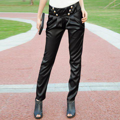 Fashionable and Slimming Ruffles Double Diagonal Button Embellished Black Suiting Long Pants For Women
