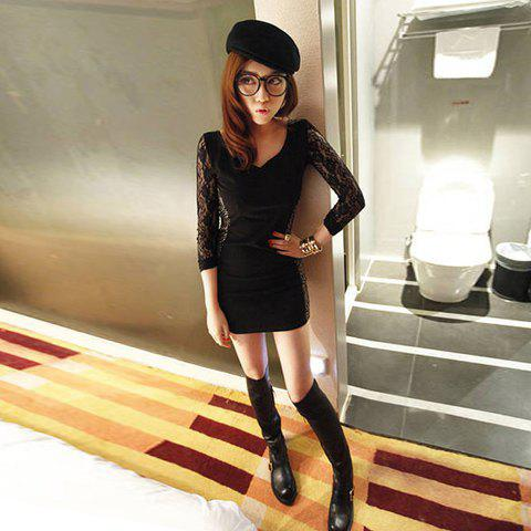 Sexy Long Sleeves V-Neck Lace Back Slimming Minidress For Women - BLACK ONE SIZE