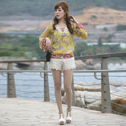 Fashion and Sweet Style Mix-Matched Lace Embellished Women's Short Pants - AS THE PICTURE M