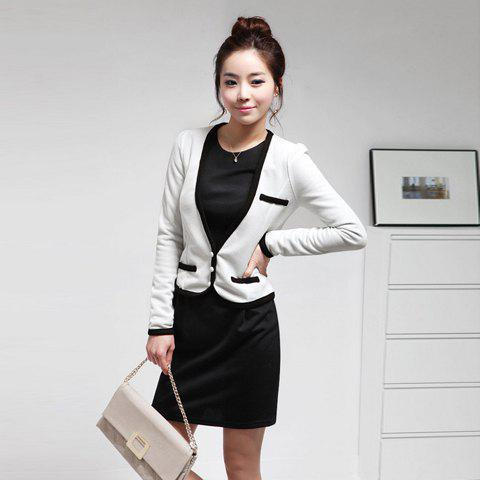 Fashionable OL Long Sleeves Cotton Dress For Women - BLACK M