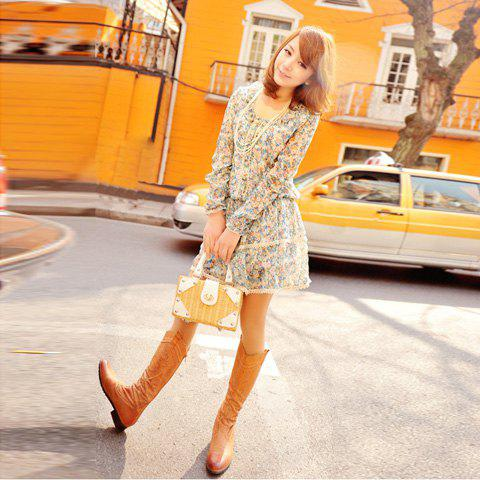 Retro Style Long Sleeves Tiny Floral Print Dress For Women - BLUE FREE SIZE
