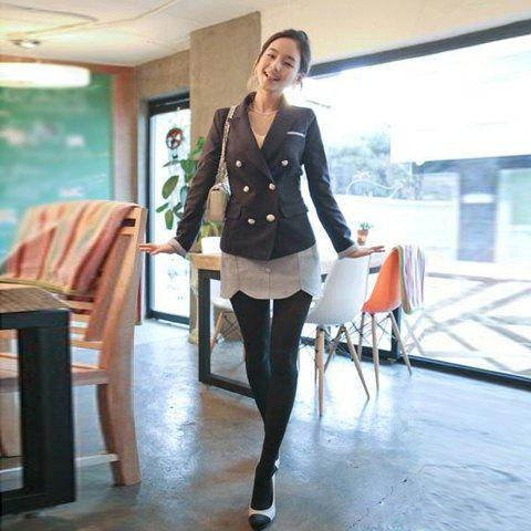 Fashion and Slimming Button Embellished Lapel Design Black Women's Tailored Suit - BLACK L