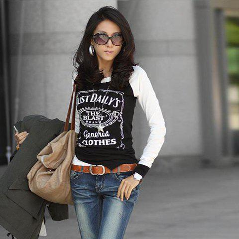 Slimming Letters Printed Long Sleeves Cotton Blend T-Shirt For Women - BLACK ONE SIZE