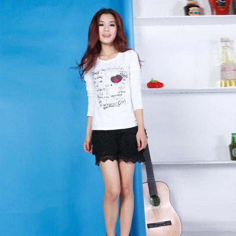 Mix Match Sweet Scoop Neck English Bunny Print Long Sleeves T-Shirt For Women - AS THE PICTURE