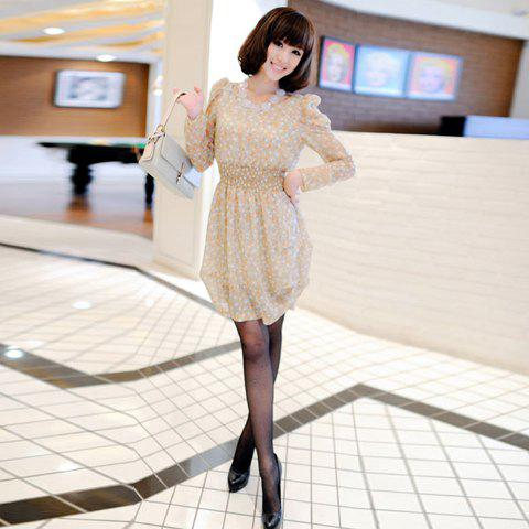 Elegant Round Collar and Long Sleeves Slimming Dress For Women - APRICOT FREE SIZE