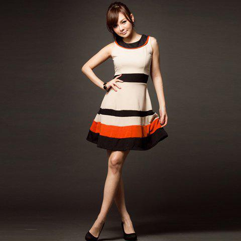 Graceful Round Neck Sleeveless Color Match Fitted Polyester Dress For Women - APRICOT FREE SIZE