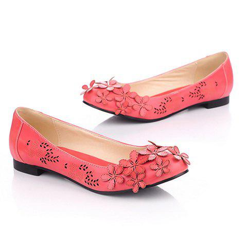Fashion and Sweet Style Openwork Flower Embellished Round Head Design Women's Flat Shoes - RED 39