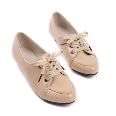 Fashion and Retro Style Candy Color Design Lace-Up Women's Wedge Shoes - BEIGE 38