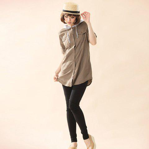 Preppy Style Single-Breasted Double Chest Pocket Convertible Long Sleeve Cotton Shirt For Women - KHAKI