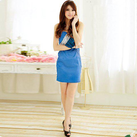 Noblest Sweetheart Neckline Layered Flounce Rhinestone Embellished Sleeveless Cotton Dress For Women - BLUE