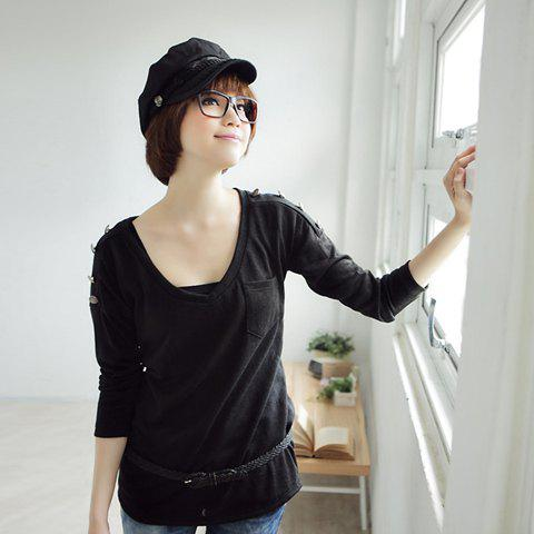 Mix Match Fashionable V-neck Button Line Embellished Black Long Sleeve T-Shirt For Women - BLACK