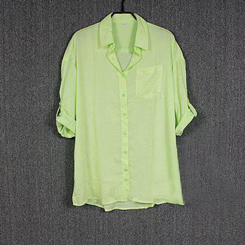 Fashion and Laconic Solid Color Loose-Fitting Shirt For Women - GREEN M