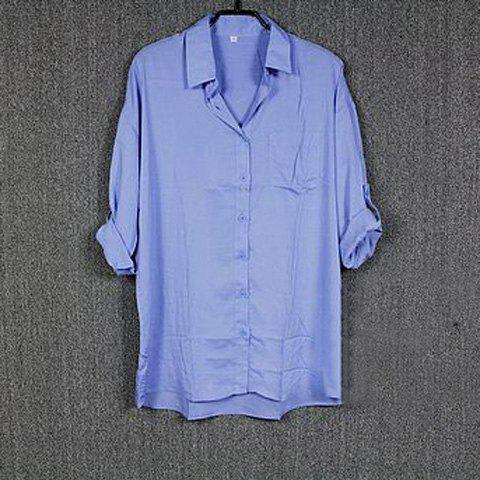 Fashion and Laconic Solid Color Loose-Fitting Shirt For Women - LIGHT BLUE S