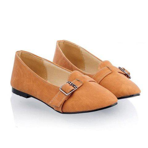 Fashion and Casual Style Buckle Embellished Solid Color Pointed Head Design Women's Flat Shoes - YELLOW 37