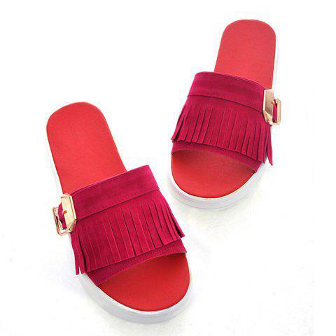 Fashion and Casaul Style Tassels Buckle Embellished Thick Sole Design Women's Sandals - RED 39