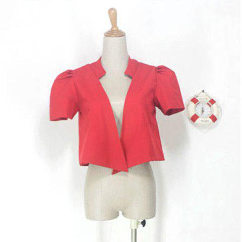 Fashionable Short Puff Sleeves Red Suiting Blazer For Women - RED S