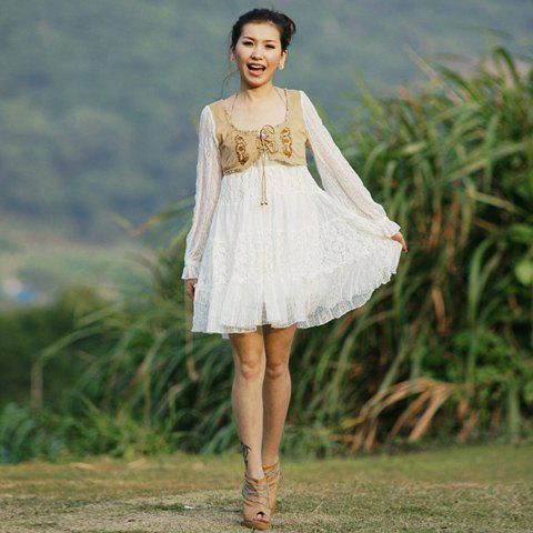 Fashion Square Neck and Long Sleeves Dress For Women - AS THE PICTURE FREE SIZE