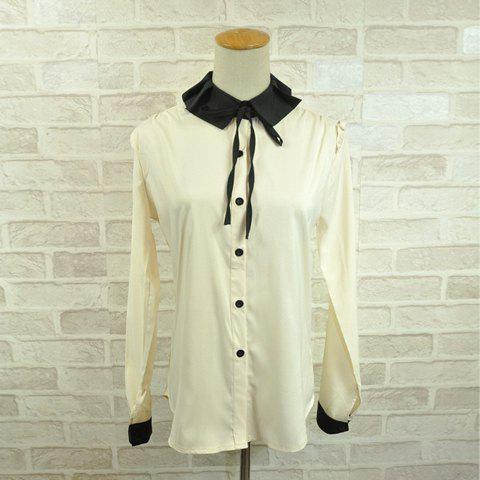 Preppy Style Lapel Bowknot Embellished Single-Breasted Long Sleeves Spandex Shirt For Women - APRICOT ONE SIZE