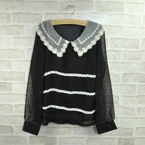 Sweet Lace Embellished Collar Faux Pearl Button Design Long Sleeves Chiffon Shirt For Women - BLACK FREE SIZE