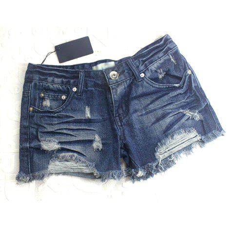 Fashion and Casual Style Fringe Ruffles Embellished Broken Hole Design Women's Short Pants - BLUE L