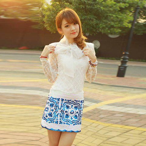Elegant Bow-Tie Embellished Perspective Openwork Long Sleeves Apricot Lace Shirt For Women - APRICOT FREE SIZE