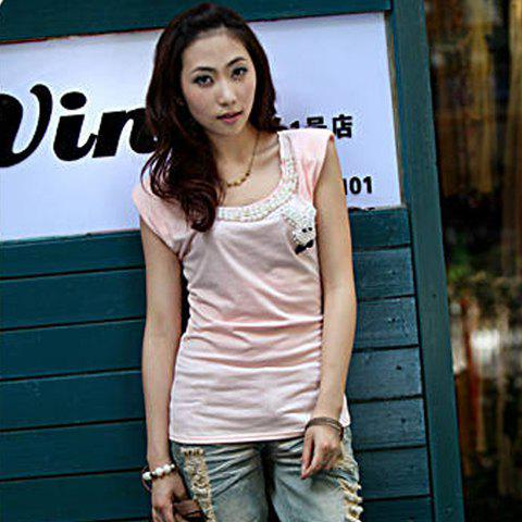 Casual and Mix Match Faux Pearl Embellished Rabbit Pattern and Scoop Neck Sleeveless Cotton T-Shirt For Women - PINK FREE SIZE