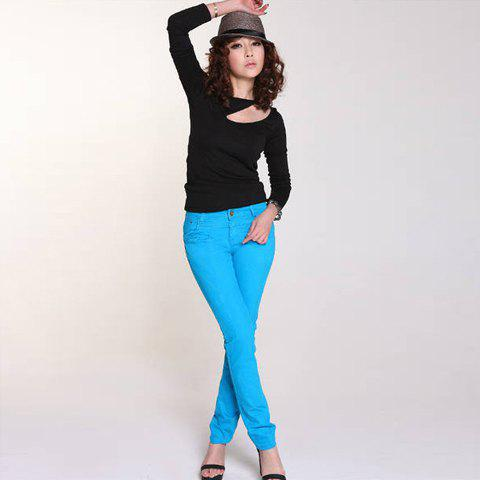 Stylish Funny Zipper Crosslink Design Back Solid Color Slimming Pencil Pants For Women - BLUE S