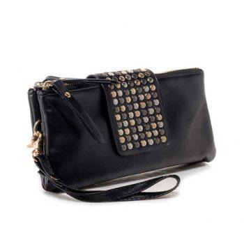 New Arrival Solid Color Rivet Embellished Clutch Bag For Women