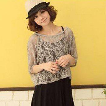 Romantic Round Neck Lace Loose Fitting Solid Color Blouse For Women - GREY/GRAY FREE SIZE