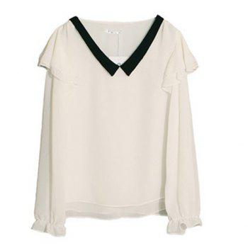 Lady Like V Neckline Color Match Flounce Enbellished Long Sleeves Chiffon Blouse For Women - WHITE WHITE