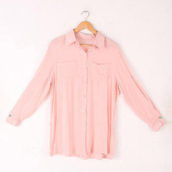 Casual Style Lapel and Single-Breasted Design Solid Color Pleated Shirt For Women - PINK FREE SIZE
